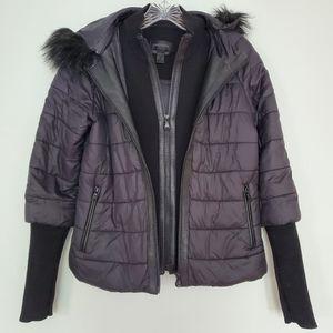 DANIER 2 layered leather/wool hooded Jacket